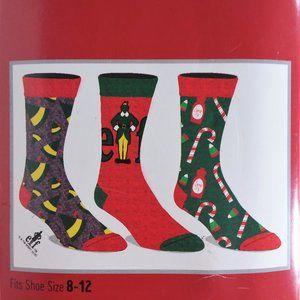 COPY - Warner Brothers Elf Crew Socks Set of 3